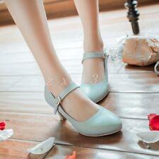 Hot Sale Ladies Womens sweet shoes casual pumps Ankle strap mid heel sandals SZ