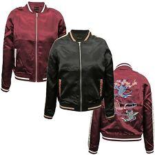 New Ladies Varsity Embroidery Design Short Bomber Jacket Coat 8-16