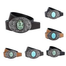 Leather Belt Multi Color Belts Removable Turquoise Belt Buckle for Men Women