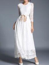 Elegante vestito abito lungo bianco pizzo  fashion maniche lunghe slim 3913