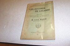 LES ACCORDS DE LOCARNO DISCOURS M LOUIS MARIN 1926 JOURNAUX OFFICIELS