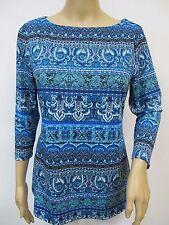 Peck & Peck Multi Blue 3/4 Sleeve Stretchy Knit Paisley Print Top Sz XS~S