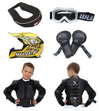 Kids MX Motocross Wulfsport Goggle Brace Knee Jkt Armour Helmet Yellow #X10