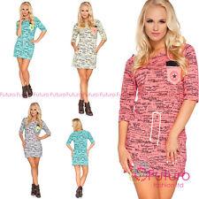 Womens Modern Party Mini Dress Letters Pattern 3/4 Sleeve Sizes 8 - 14 6596
