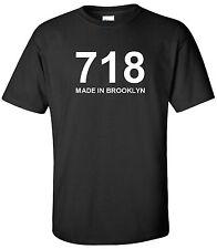 MADE IN BROOKLYN 718 T-SHIRT AREA CODE NY NEW YORK CITY BLACK TEE SHIRT