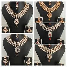 Indian Traditional Gold Tone Kundan Bridal Ethnic Fashion Wedding Jewelry Set