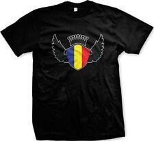 Romania Flag Shield Romanian Pride Rumania Roumania Mandrie Mens T-shirt