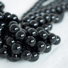 Grade Un Naturel Noir Tourmaline Gemme Perles Rondes - 4 mm 6 mm 8 mm 10 mm Tailles