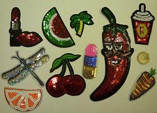 ❤️ EDEL Patch Patches Aufnäher Bügelbilder Pailletten Kirsche Melone Palme Chili