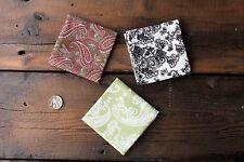 Handmade Mens Cotton Pocket Square Handkerchief Paisley Wedding Gift J K L Set