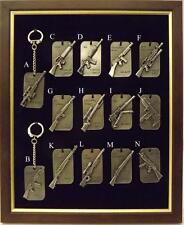 Dog Tag Military Miniature Gun/ Rifle Pewter Key Rings
