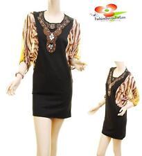 Women Black Ponte Stretchy Knit Laced Silk Chiffon Dolman Sleeve Tunic Dress Top
