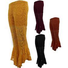 Ladies Asymmetric Lace Lined Bell Ruffle Hem Palazzo Bottom Trousers Shorts