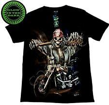 Wild Glow In The Dark Black T shirt Cotton Biker Bandanna Motorbike Skull