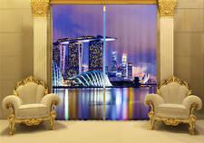 Night Singapore City 3D Blockout Photo Printing Curtains Draps Fabric Window