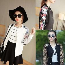 Hot Women Button Long Sleeve Sport Bomber Jacket  Flower Printing Baseball Coat