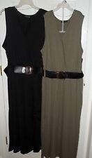 Womens Plus~Knit Long MAXI DRESS with BELT size 2X 3X 4X~NWT~BLACK~OLIVE Green
