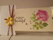 Stitch Shaker Card Anniversary Gem Vellum Layer Stamp Rose Handmade Glitter Bead