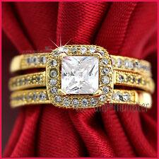 9CT YELLOW GOLD GF LADIES ENGAGEMENT WEDDING DRESS BAND SQUARE CRYSTAL RINGS SET
