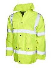 Uneek Hi Viz Yellow Road Traffic Work Wear Safety Jacket Coat UC803
