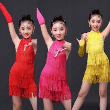 Mädchen Tanz Kleid Fransenkleid Lateinkleid Turnierkleid Tangokleid Ballkleid