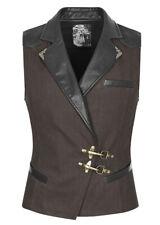 Veston homme marron, col imitation cuir noir et attaches mousqueton Punk Rave