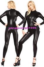 Sexy Body Suit Costumes Black Shiny Metallic Suit Catsuit Costumes Unisex F077