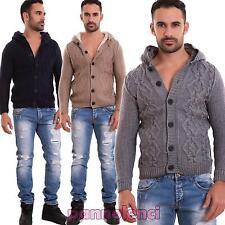 Hombre Cardigan suéter pulóver acolchado piel capucha nuevo BB025