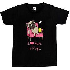 Pug Napping On Sofa I Love Naps & Pugs Kids Girls T-Shirt