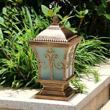Retro White Glass Metal Lantern Outdoor Pillar Light Garden Gate Post Lamp S/M/L