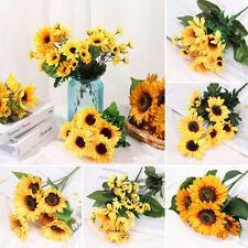 Yellow Fake Flores Bouquet Silk Sunflower Wedding Decoration Artificial Flower