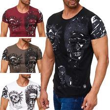 Herren T Shirt Kurzarm Shirt Allover Biker Totenkopf Print Indian Skull Head Neu
