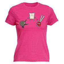 Mexican Standoff Rock Paper Scissors WOMENS T-SHIRT Cartoon Funny Gift birthday