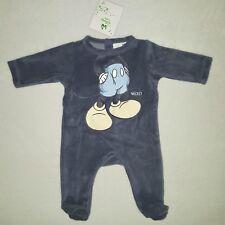 DISNEY BABY pyjama grenouillère velours MICKEY bleu naissance ou 1 mois NEUF