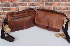 Italy LEDER Schultertasche Braun Messenger tasche Umhängetasche Leather Bag #155