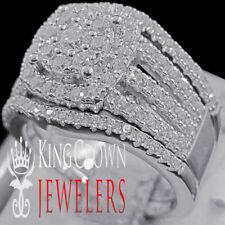 3Pc Wedding Engagement Rings Real White Gold On Silver Simu Diamond Bridal Band