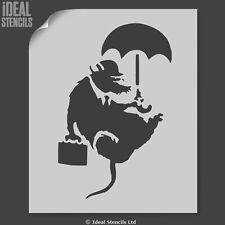 Banksy Rat Stencil Flying Rat Umbrella Business Man stencil - Ideal Stencils Ltd