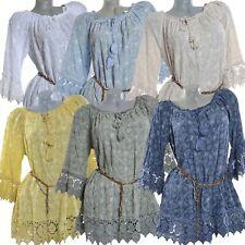 Sommer Tunika Spitze Bluse Häkelspitze Strand Top Kleid Shirt 34 36 38 40 XS S M