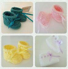 New Handmade Crochet Knitted Newborn Baby Girl Boy Booties Christening Shower
