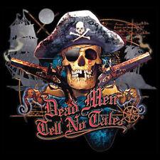 Funny T-Shirt Dead Men Tell No Tales Pirate Skull Revolvers Tee