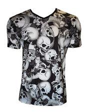 Da Uomo Nero & Bianco Teschi Rose Banner V Collo T-shirt Girocollo Goth Punk Emo S, M, L, XL