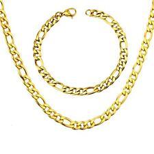 Lujo Juego Cadena Figaro pulsera 7mm bañado en oro 750 18 Quilates Oro Amarillo