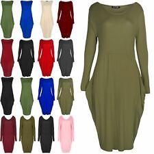 New Womens Ladies Lagenlook Italian Drape Baggy Side Pockets Long Sleeve Dress