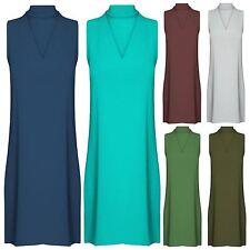 New Ladies Plain Choker V Neck key hole Sleeveless flared Swing Mini Dress 8-22