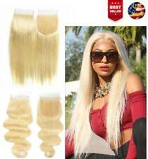 Brazilian100%Human Remy Virgin Hair 10A Bundle100g/4x4/13x4 #613 Straight/Wave