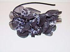 Side Ruffle Headband Animal Leopard Cheetah Print Fabric Black Hair Accessory