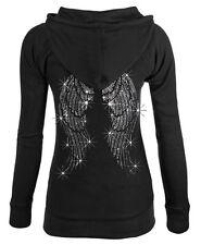 Junior's Rhinestone Angel Wings Black Thermal Zipper Hoodie Sparkle Sweater