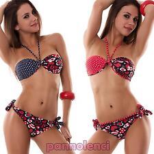 Bikini donna costume da bagno fascia cuori POIS due pezzi bandeau nuovo B2510