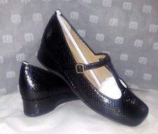 Scarpe Donna Pelle Stampa Pitone Nero MADE ITALY LINEA COMODA Chaussures Schuhe