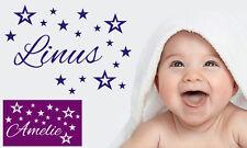 Wandtattoo Kinderzimmer Name Wunschname Sterne Junge Aufkleber Kind Baby wu095
